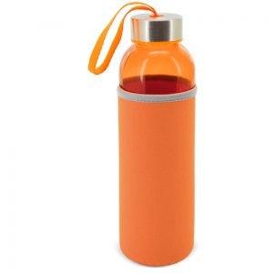 Botella de cristal personalizada cómoda y reutilizable con capacidad de 500 ml. Se puede personalizar en el neopreno o grabada a láser en el tapón.